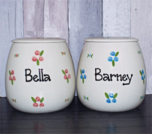 Personalised Ceramic Dog Treat Jar Roses