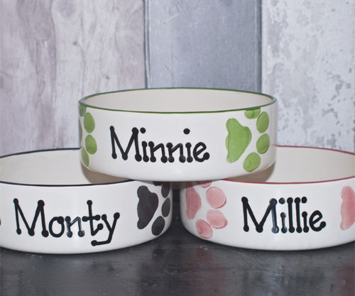 Ceramic Dog Bowls Personalised Paw Prints Design