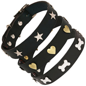 Studded Black Leather Dog Collars