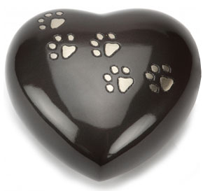 Pet Keepsake Urn Hertford Black Pewter Heart