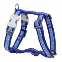 Red Dingo Dog Harness Flying Bones Blue