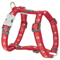 Red Dingo Dog Harness Paw Prints Red