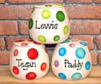 Personalised Ceramic Dog Treat Jar - Dotty