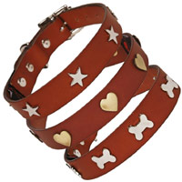 Studded Tan Leather Dog Collars