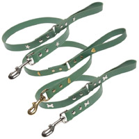 Studded Green Leather Dog Leads