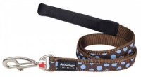 Red Dingo Dog Lead Blue Spots on Brown
