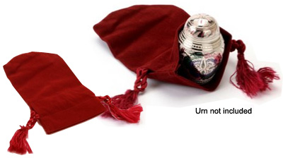 Red Velvet Pouch For Pet Keepsake Urn