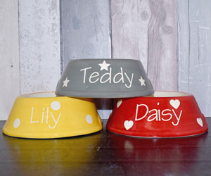 Yellow personalised dog bowl