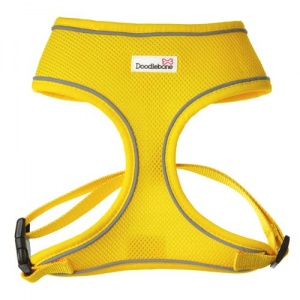 Yellow Doodlebone air mesh dog harness