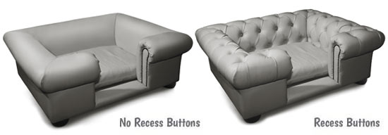 Sofa dog bed in steel grey with recess buttons options