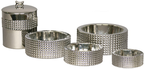 Berlin nickel plated dog bowls and jar