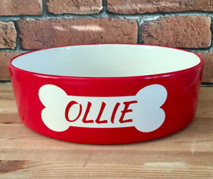 personalised dog bowl in red with bone design