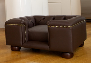 brown faux leather luxury dog bed