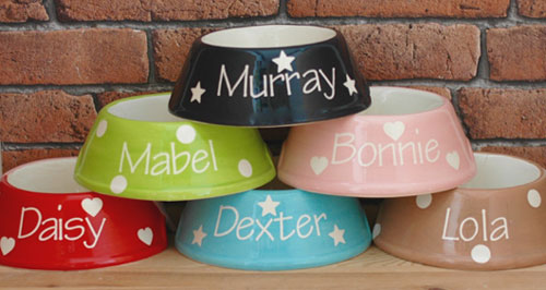 Personalised ceramic dog bowls