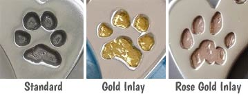 dog paw charm gold inlay option