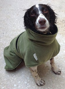 Dog drying coat with belly and neck protection