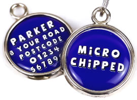 Microchipped dog tags (with optional spay or neutered)