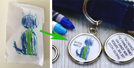 Your drawing on a pet tag