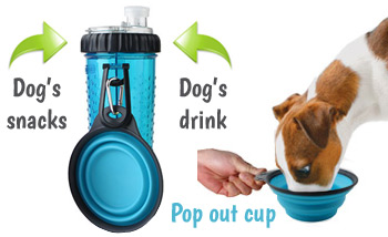 dog water bottle with snack compartment