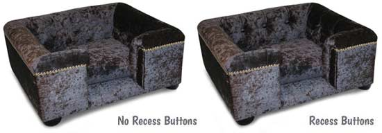Sofa dog bed recess buttons options