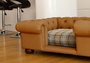 luxury faux leather dog sofa bed in camel