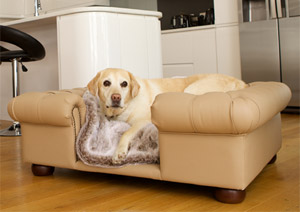 luxury faux tan leather dog sofa bed
