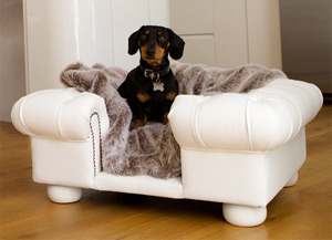 luxury faux white leather dog sofa bed