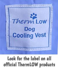 ThermLOW dog cooling coat official label