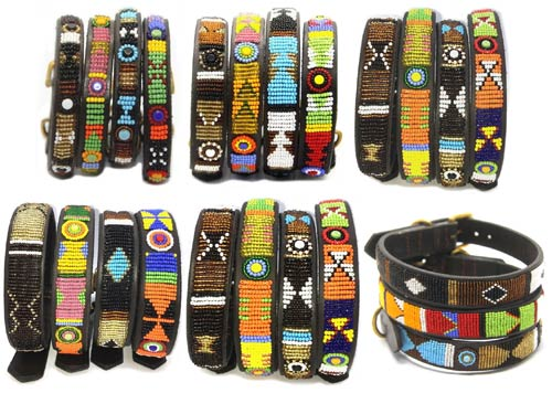 African Kenya leather beaded dog collars