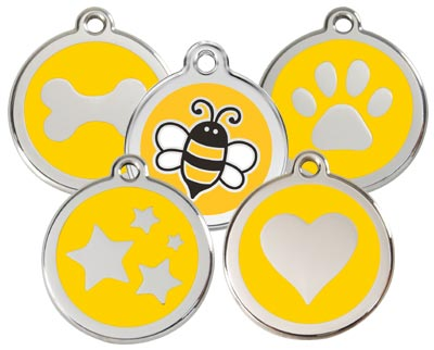 Yellow dog ID tags