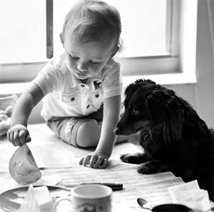 cute dog and child pic