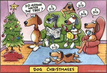 funny dog cartoon dog's watering Christmas tree