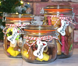 kilner style dog treat jars filled with goodies