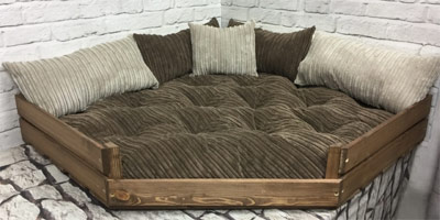 Large wooden corner dog bed