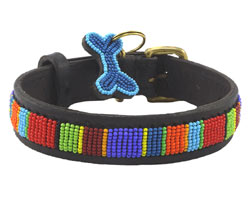 Beaded leather dog collar Digo design