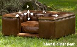 leather dog bed dimensions