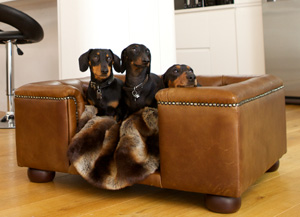 luxury real Italian leather dog bed