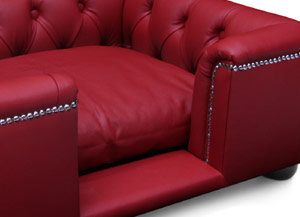 luxury real red leather dog bed