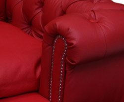real red leather dog bed Chesterfield sofa