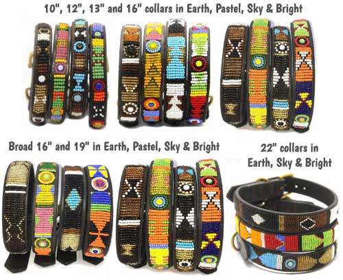 Masai beaded leather dog collars
