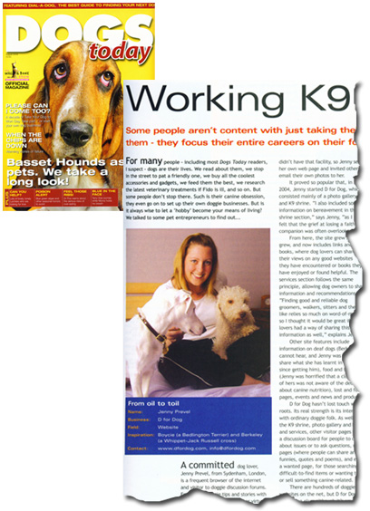 D for Dog in Dogs Today magazine