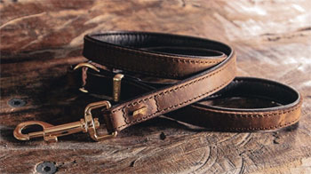 classic natural leather dog collars and leads