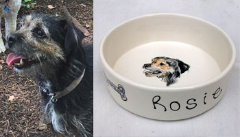 personalised dog bowl dog name and portrait
