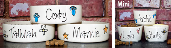 Personalised dog bowls in whimsical design