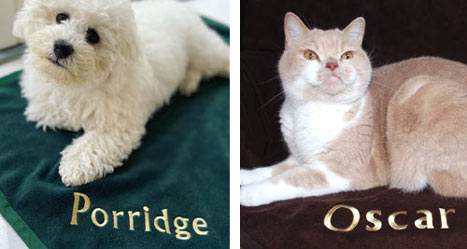 Personalised pet blankets for dogs or cats