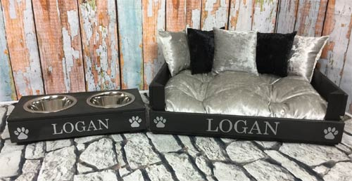 Wooden dog bed personalised with the dog's name