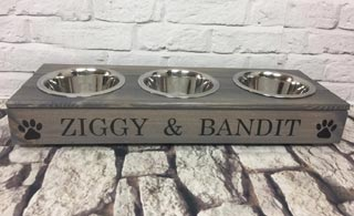 Personalised wooden dog bowls triple 3 bowls