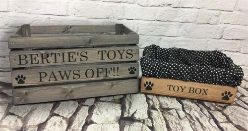 personalised wooden dog toy box
