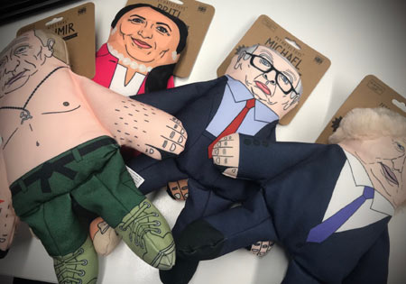 Parody politician dog toys