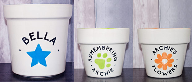 Personalised pet memorial flower pot planters